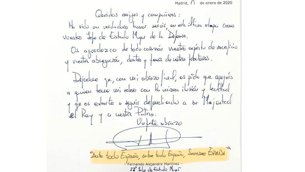"""La carta con la que se despide el JEMAD: """"Ante todo por España, sobre todo España, siempre España"""""""