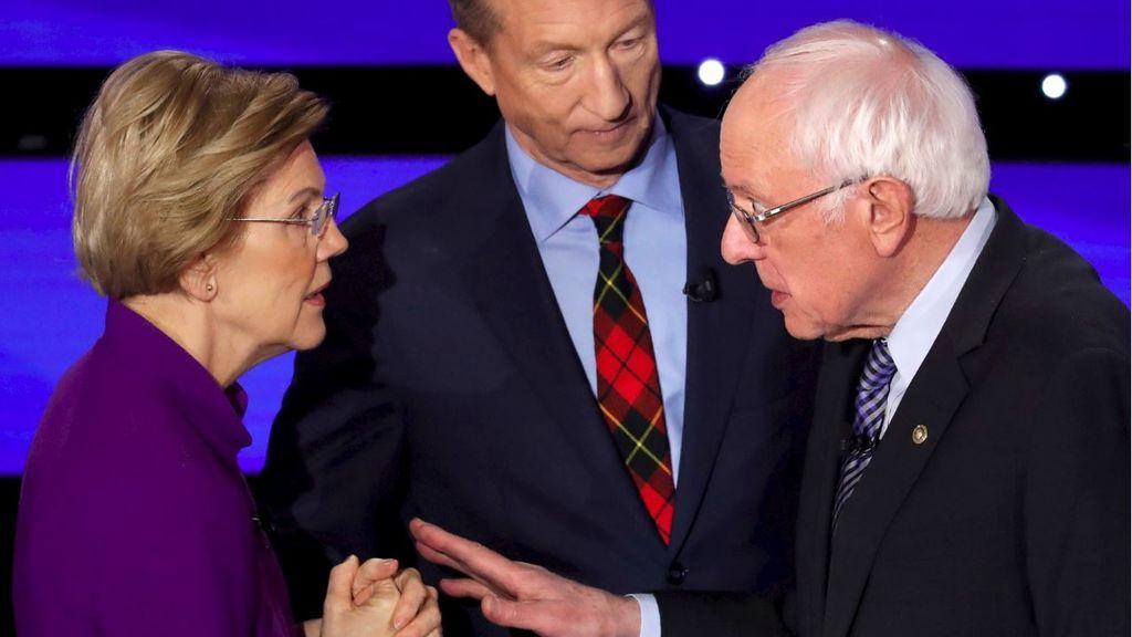 Discusión entre Sanders y Warren