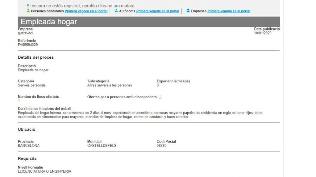 Pantallazo de la oferta discriminatoria publicada en el SOC