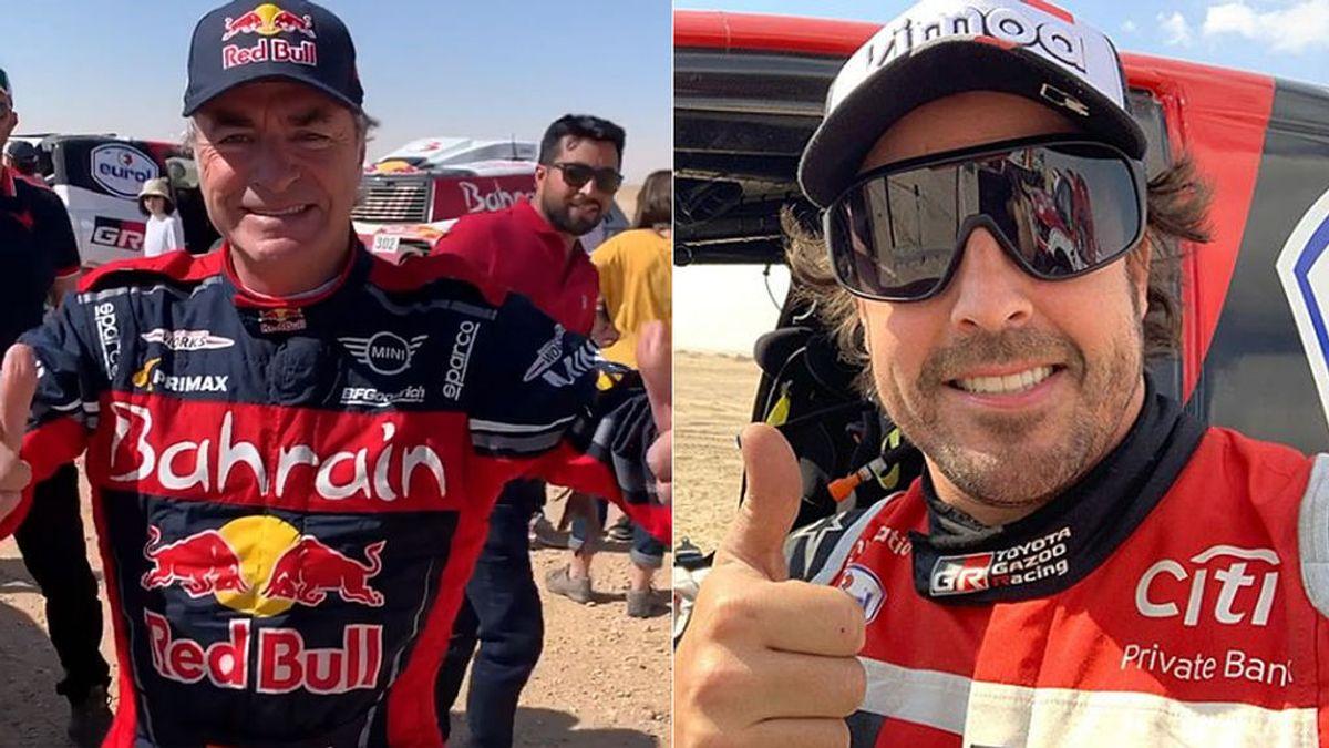 """Fernando Alonso entrevista a Carlos Sainz nada más ganar el Dakar y se parten de risa: """"Enhorabuena a ti, chaval"""""""