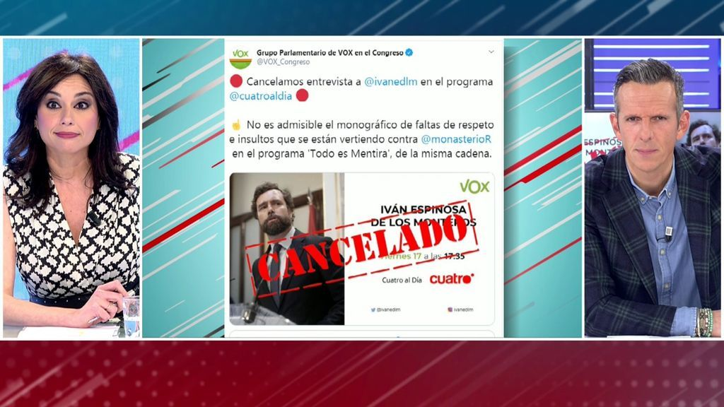 Espinosa de los Monteros cancela una entrevista en 'Cuatro al día'