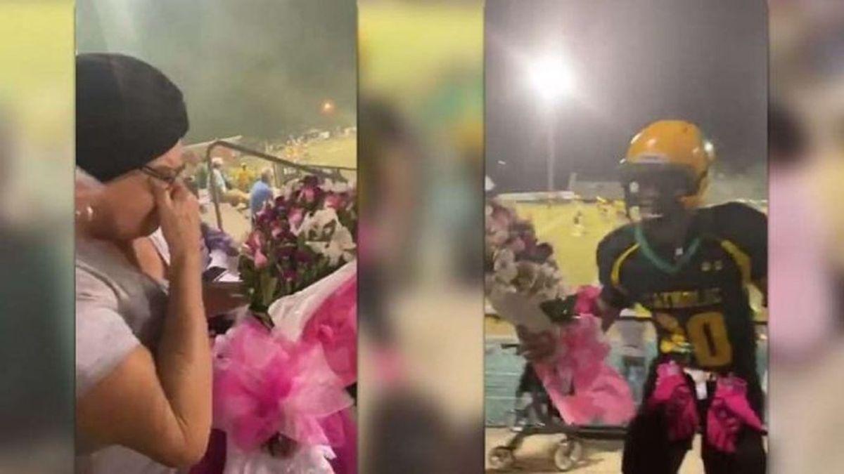 Un jugador para en mitad del partido para dar un ramo de flores a su abuela con cáncer