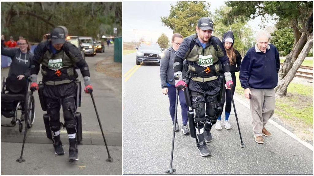 El corredor del exoesqueleto: el parapléjico que terminó una maratón en 33 horas y 50 minutos