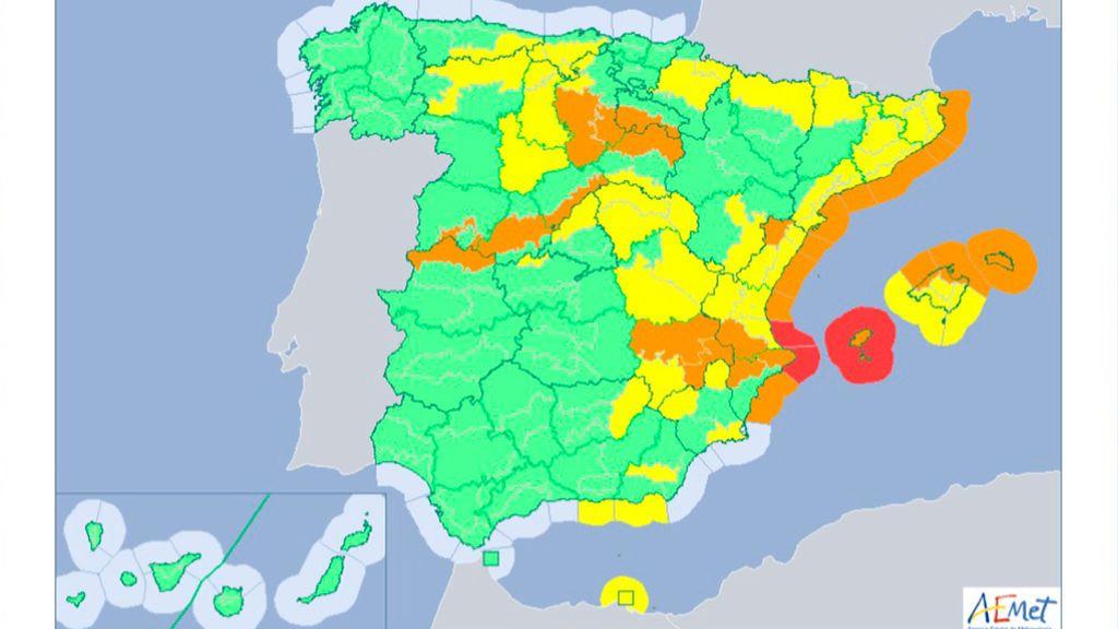 Mapa por riesgos del domingo en España