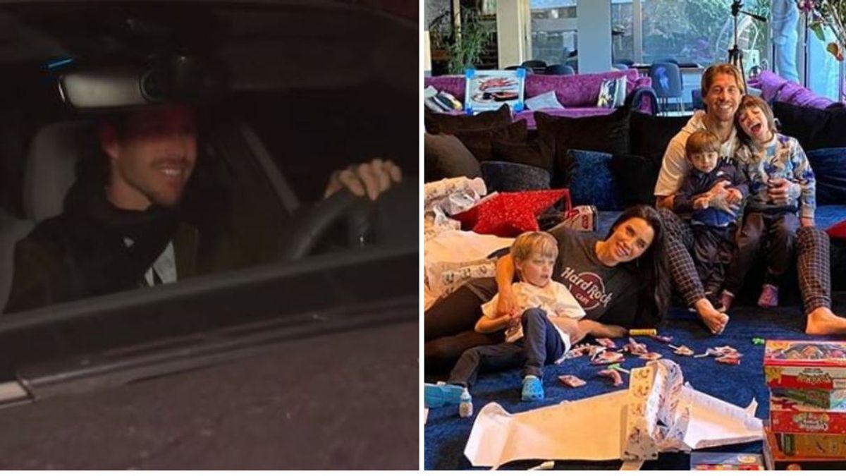 """La primera reacción de Sergio Ramos al conocerse que espera su cuarto hijo: sonrisa, prisas y un """"aquí, aquí"""""""