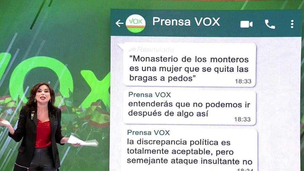 El comentario por el que Vox cancela la entrevista de Rocío Monasterio en 'TEM'