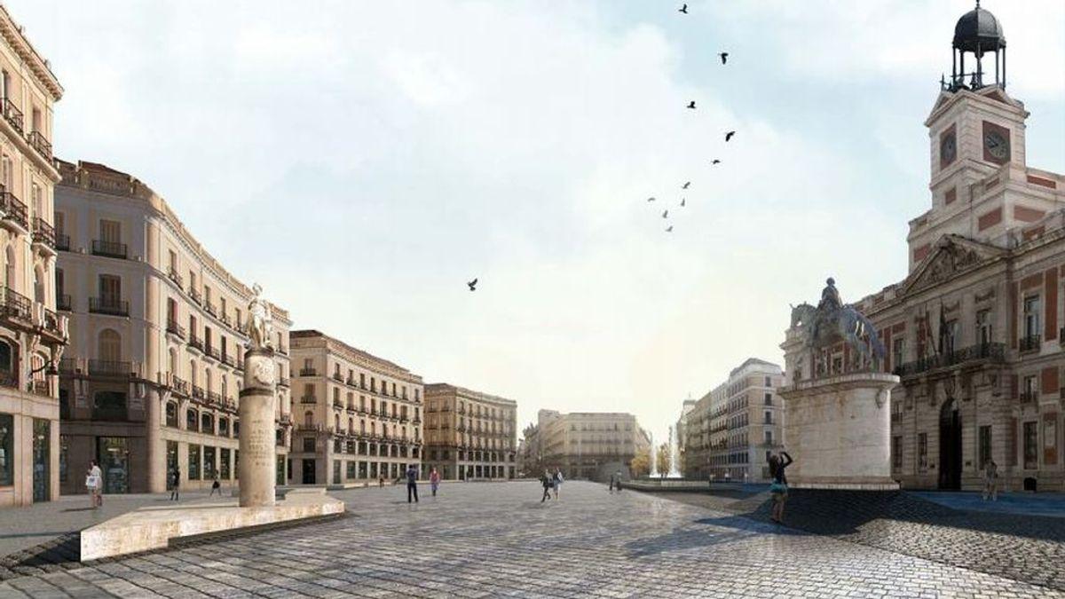 Recreación de cómo quedaría la Puerta del Sol peatonalizada según un proyecto de 2013