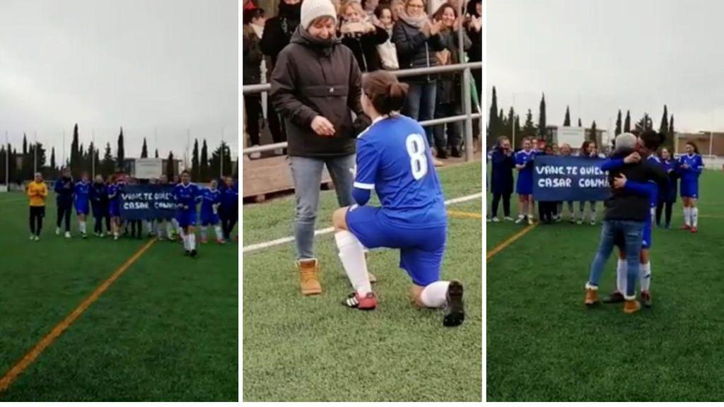 Una jugadora del Valdefierro pide matrimonio a su novia con ayuda de sus compañeras de equipo