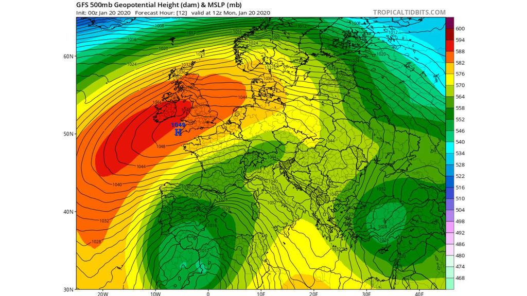 gfs 500 hpa lunes