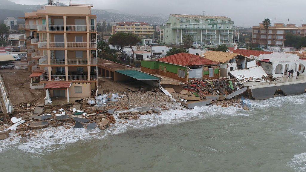 La borrasca Gloria arrasa las playas de Denia, Jávea y Almenara
