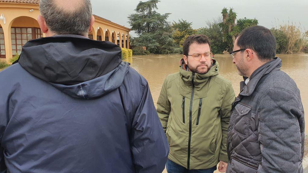 Pere Aragonés visita las zonas afectadas por la borrasca Gloria