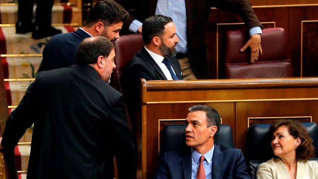 Oriol Junqueras y Pedro Sánchez en el Congreso