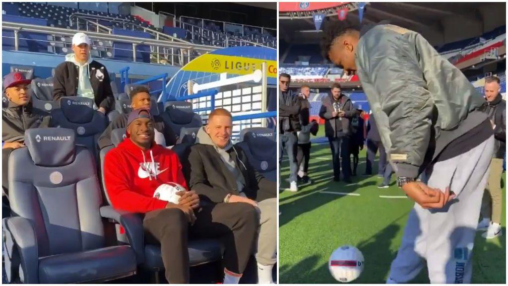 Giannis Antetokounmpo muestra su calidad con el balón de fútbol en el Parque de los Príncipes: toques y filigranas a lo Ronaldinho