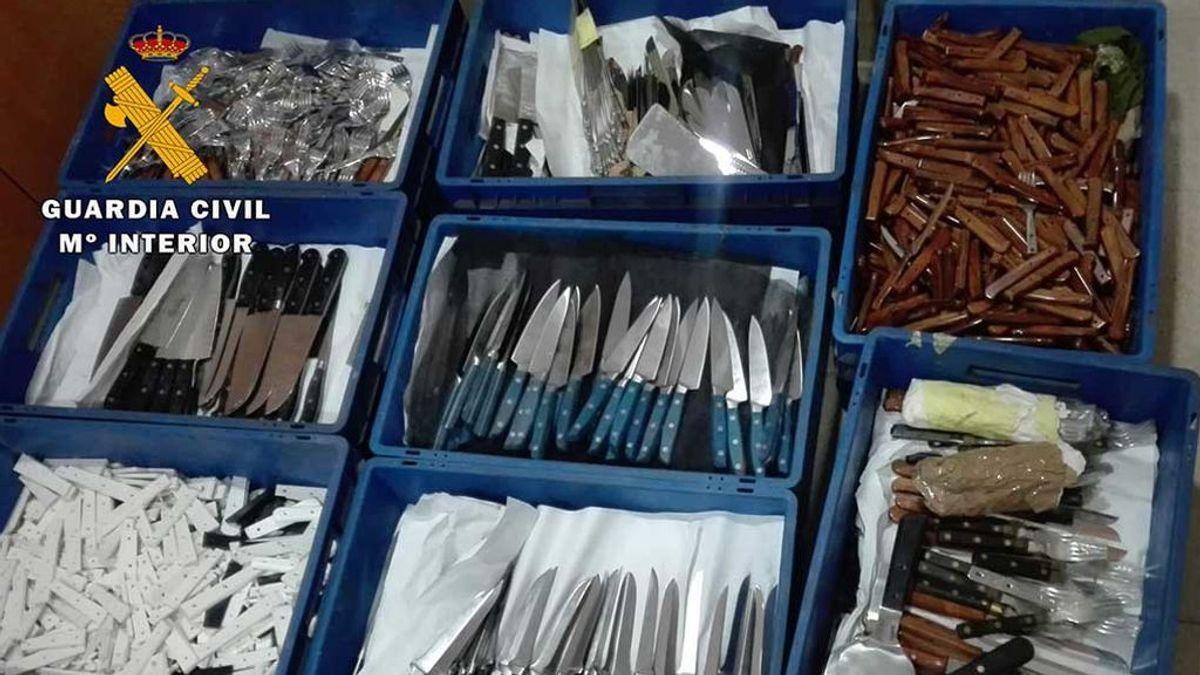 Detenido en Albacete por robar en su empresa 4.250 cuchillos y material, valorados en 300.000 euros