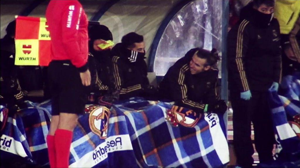 Bale parodia desde el banquillo el remate de Brahim en el segundo gol del Madrid