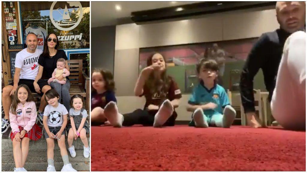 """Los ejercicios 'fitness' de Andrés Iniesta con sus hijos: """"Empezando la pretemporada con este equipazo"""""""