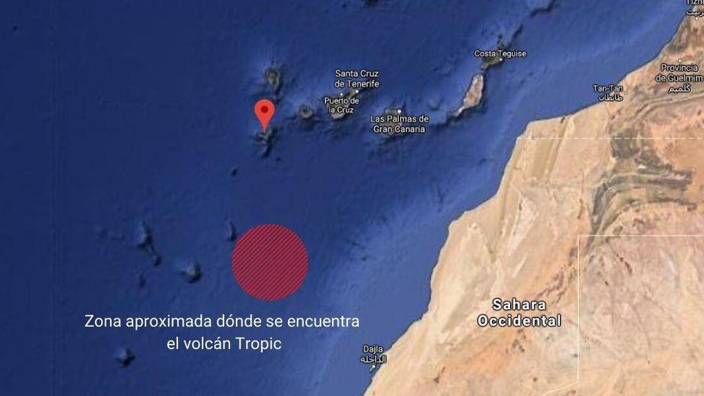 Zona aproximada dónde se encuentra el volcán Tropic