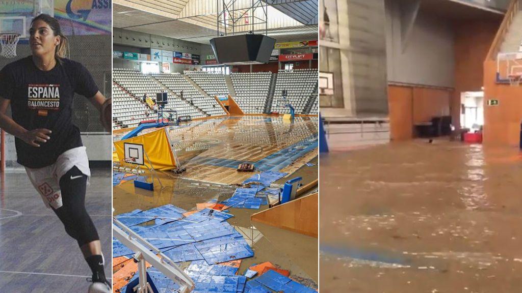 Marta Xargay, jugadora de baloncesto de la selección española, muestra los estragos de la borrasca Gloria en el pabellón del Girona