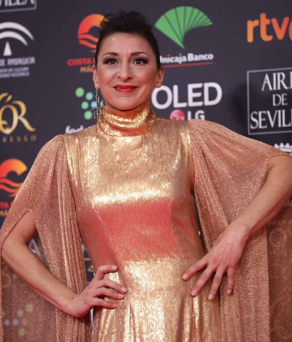 Mariola Fuentes en la alfombra roja de los Premios Goya 2020