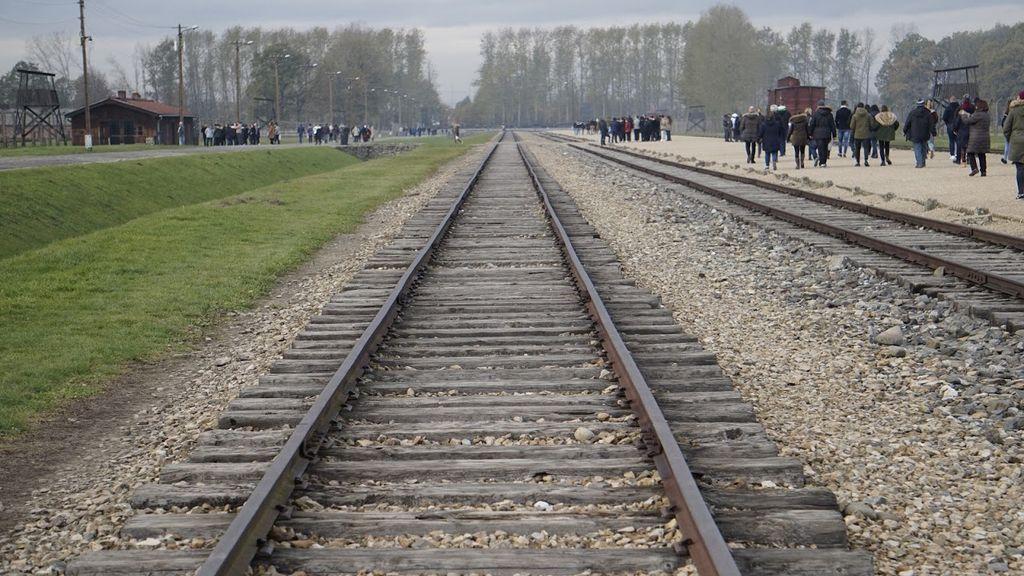 Las vías de Birkenau y los árboles de las cámaras de gas