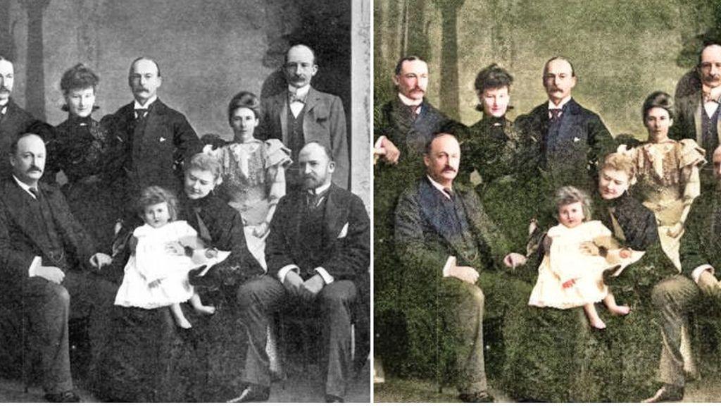 Antes y después de dar color a una foto