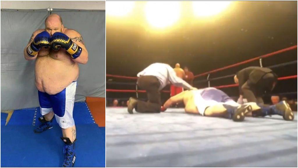 Un boxeador de 180 kilos se desploma en la lona tras ser noqueado por un veterano en su debut en los pesos pesados