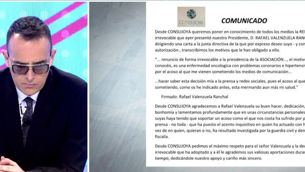Comunicado de prensa  de Consujoya