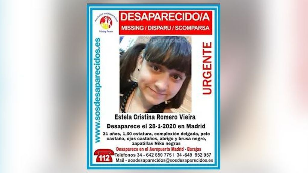 Buscan a Estela Cristina Romero Vieira de 21 años, desaparecida en Barajas, Madrid, el 28 de enero
