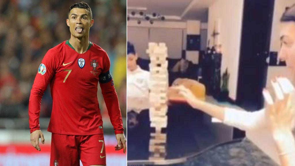 """Cristiano Ronaldo se 'burla' de Georgina tras perder al jenga: """"Tranquila, tranquila, siuuuuuuu, buuuuuu"""""""