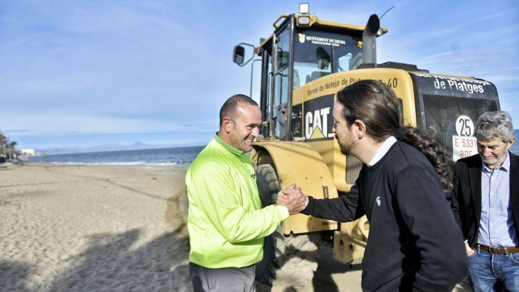 Pablo Iglesias, de visita en las zonas dañadas por Gloria