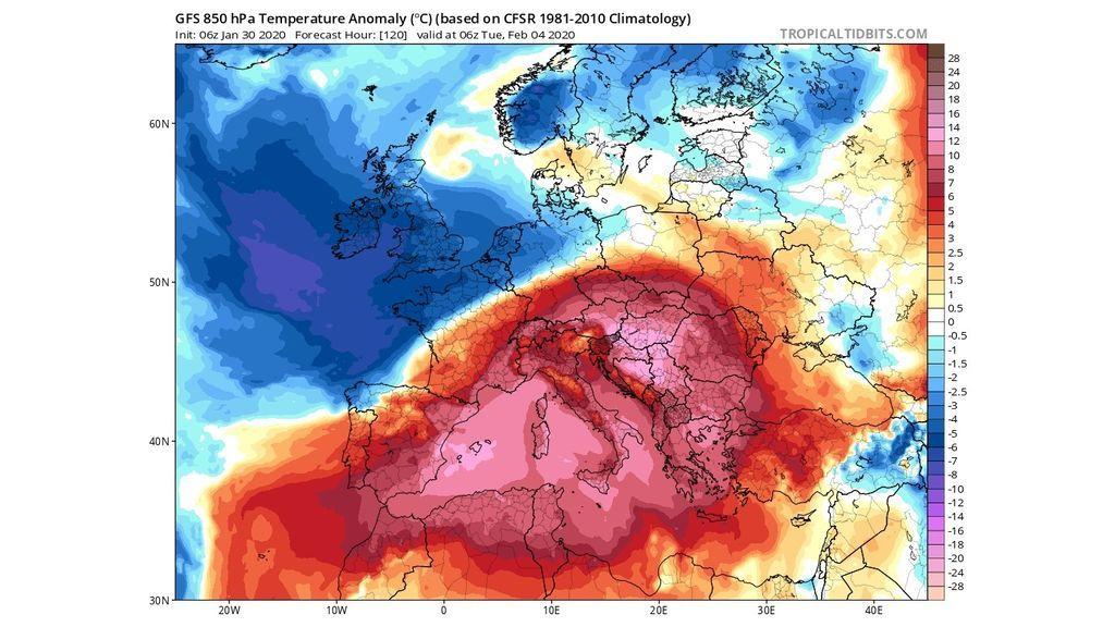 anomalia temperatura GFS 4 nero
