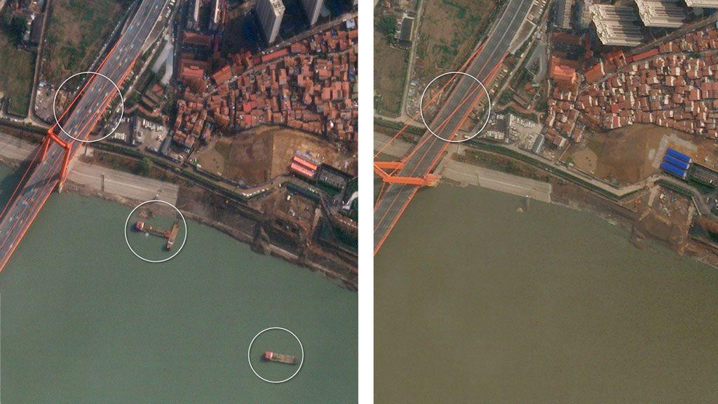 Los satélites muestran cómo se ha detenido la vida en Wuhan