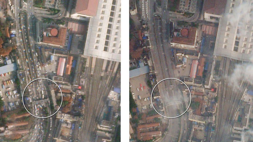 Carreteras de Wuhan antes y después de la cuarentena
