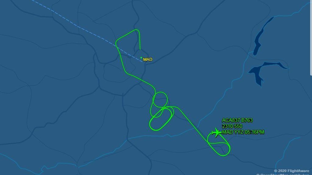 Recorrido del avión para perder combustible