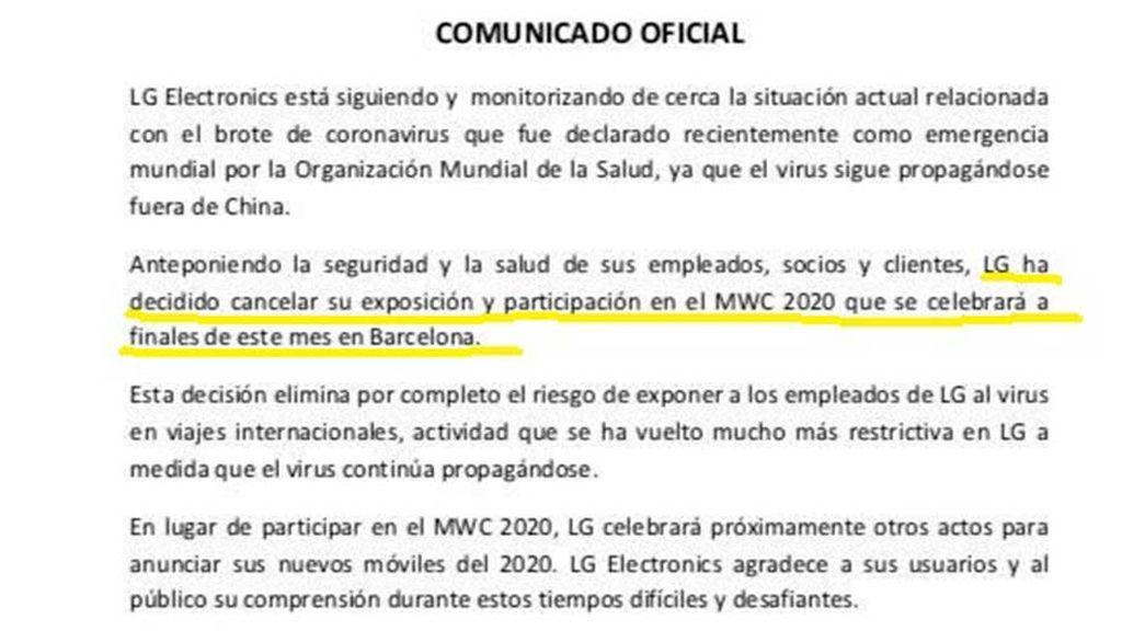 Comunicado oficial de LG suspendiendo su participación en el MWC