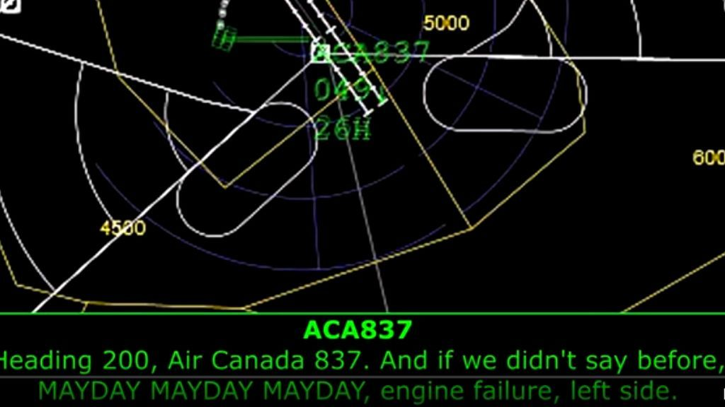 Las conversaciones entre el piloto del Air Canadá, el del caza y los controladoresm