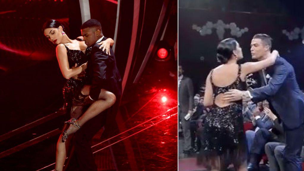 Cristiano Ronaldo y Georgina lucen en San Remo: tango ensayado en casa y 'regalazo' al presentador