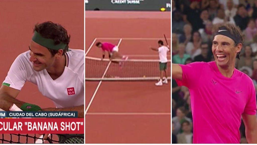 El show de Federer y Nadal: risas, bromas y Rafa termina saltando la red