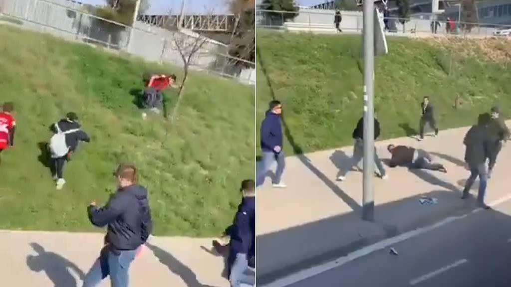 El pánico de unos niños que huyen al encontrarse con una pelea entre ultras en los alrededores del estadio del Espanyol
