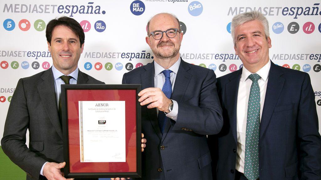 Mediaset España recibe el certificado de AENOR sobre el Sistema de Gestión de Compliance Penal