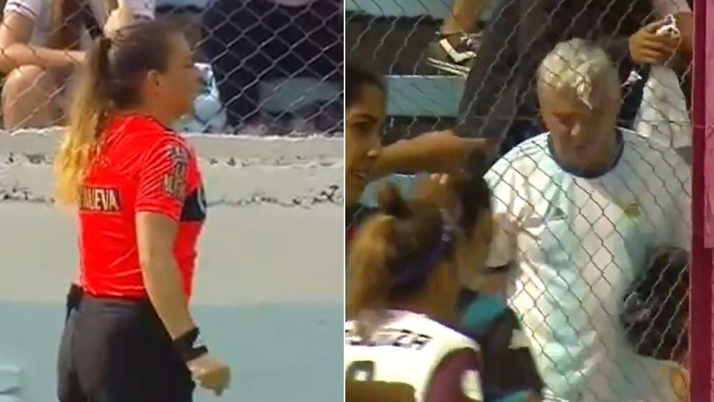 Una árbitra decide expulsar a un espectador del estadio por estar insultando continuamente