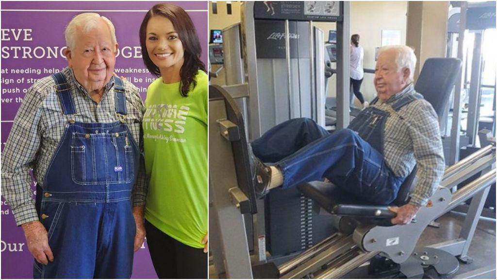 Un abuelo de 91 años se hace viral por sus entrenamientos en el gimnasio