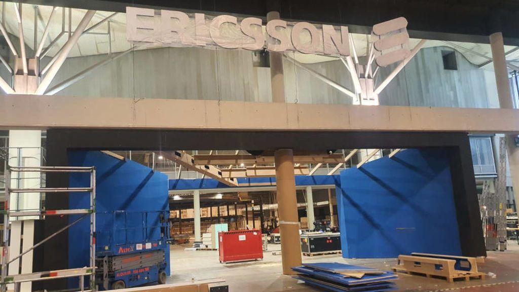 Parado el montaje del estand de Ericsson tras su baja del congreso