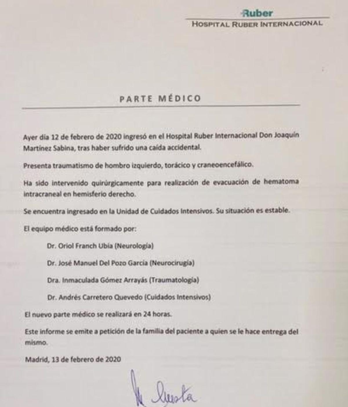 El parte médico de Joaquín Sabina: está estable tras el susto de su operación de urgencia por un hematoma intracraneal