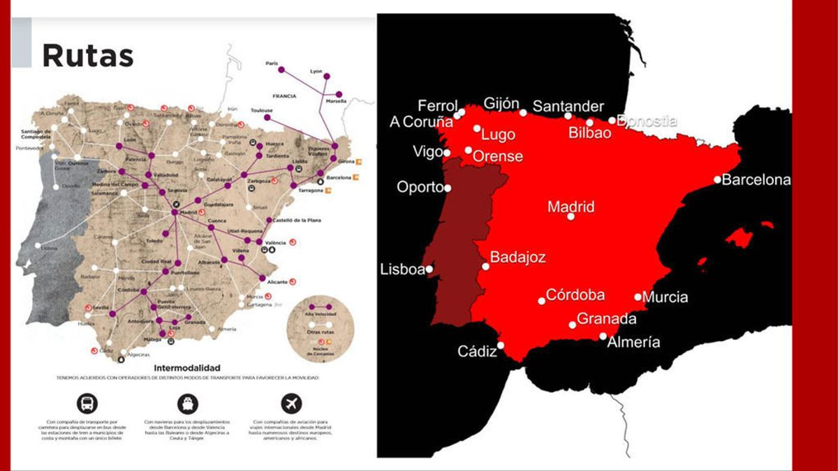 Renfe pide disculpas tras situar a Vigo en Portugal en un mapa de su revista