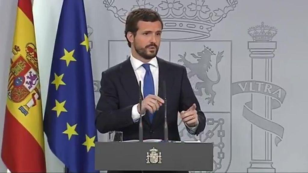 """Casado ofrece a Sánchez un """"compromiso por España"""" a cambio de no aplicar su programa electoral"""