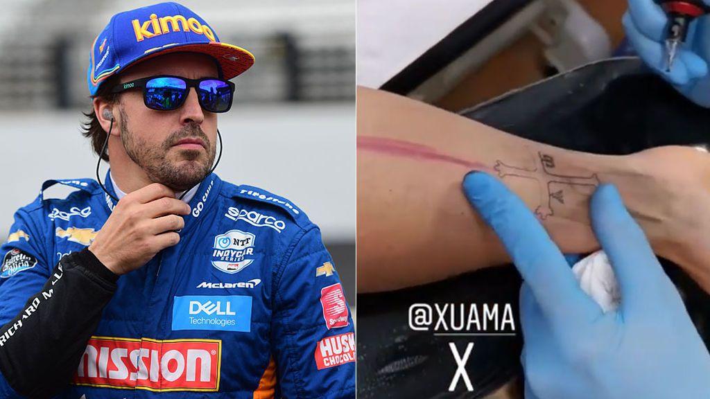 Fernando Alonso hace un guiño a su tierra y un amigo le tatúa la cruz de Asturias