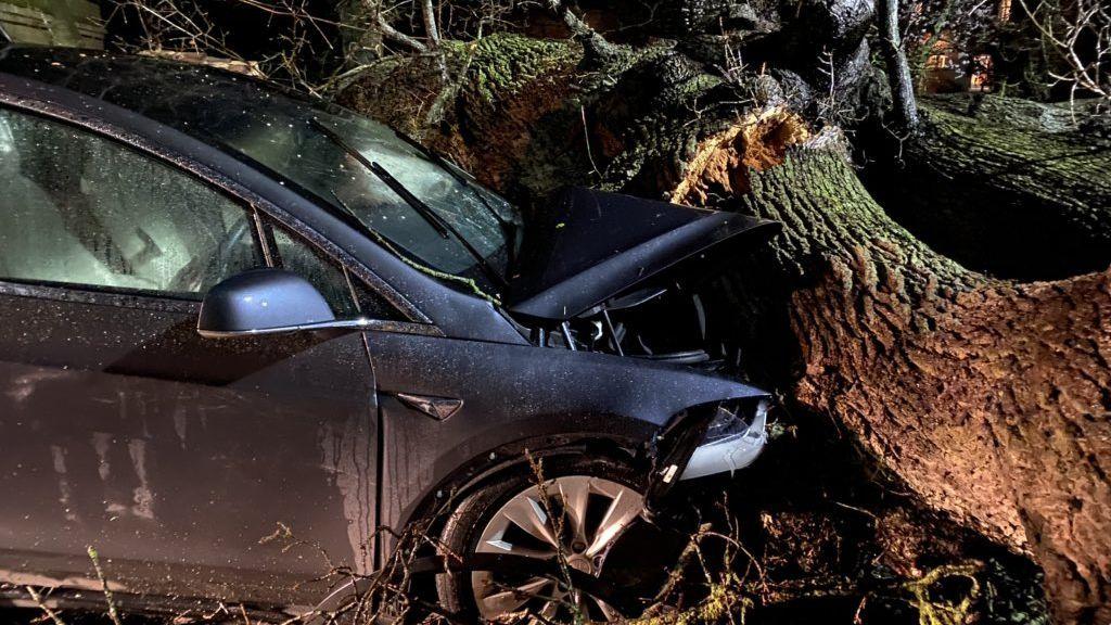 Un vehículo automático consigue salvar la vida a una familia que iba a ser aplastada por un árbol