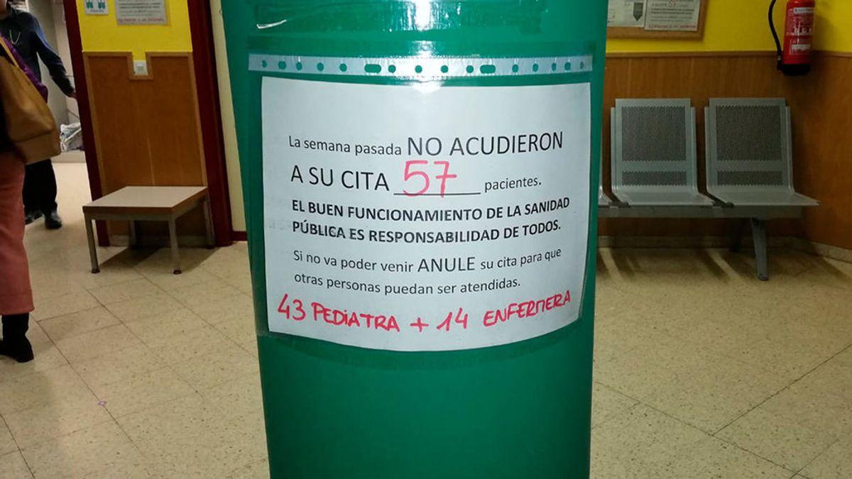 Pide cita en el médico, no va y no avisa: los 'carteles denuncia' de los sanitarios