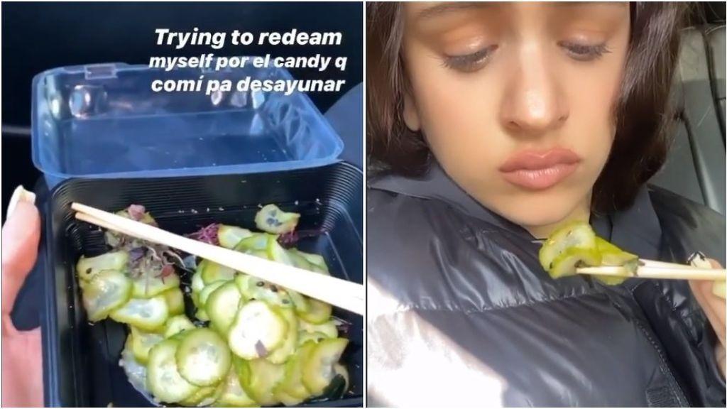 """Rosalía muestra que está comiendo pepinos para """"redimirse"""" de sus excesos"""